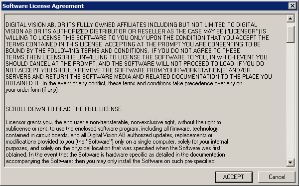Filesoftware License Agreement Dialogg Digitalvision